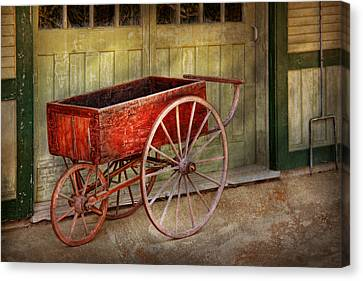 Wagon - That Old Red Wagon  Canvas Print by Mike Savad