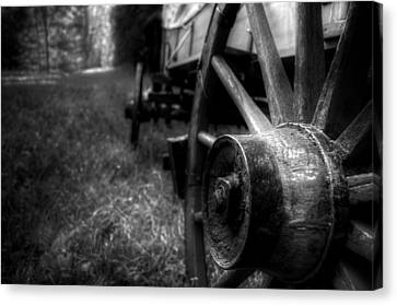 Wagon Wheels In Black And White Canvas Print by Greg Mimbs