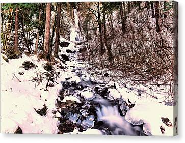 Canvas Print featuring the photograph Wahkeena Falls In Ice by Jeff Swan