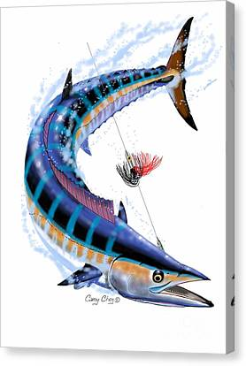 Saltwater Fishing Canvas Print - Wahoo Digital by Carey Chen