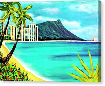 Waikiki Beach And Diamond Head #150 Canvas Print by Donald k Hall