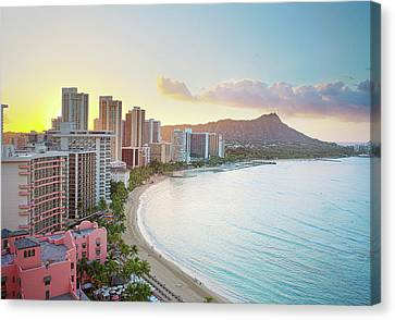 Waikiki Beach At Sunrise Canvas Print by Monica and Michael Sweet