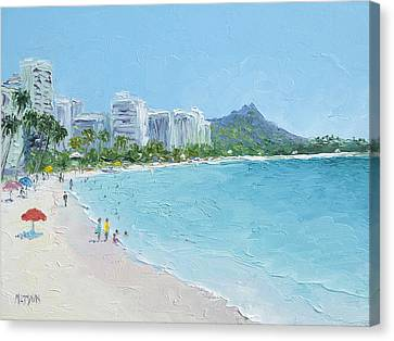 Waikiki Beach Honolulu Hawaii Canvas Print by Jan Matson