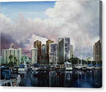 Canvas Print featuring the painting Waikiki Beach Marina by Michael Frank