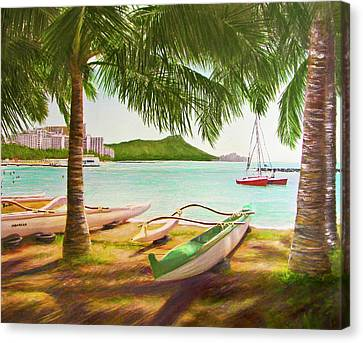 Waikiki Beach Outrigger Canoes 344 Canvas Print by Donald k Hall