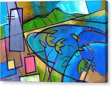 Diamond Head Canvas Print - Waikiki From The Sheraton by Douglas Simonson