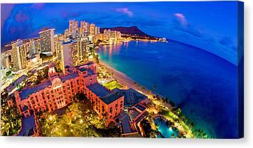 Michael Sweet Canvas Print - Waikiki Hawaii Sunset by Michael Sweet
