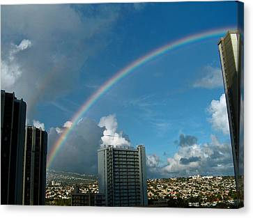 Canvas Print featuring the photograph Waikiki Rainbow by Anthony Baatz