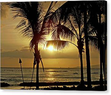 Canvas Print featuring the photograph Waikiki Sunset by Anthony Baatz