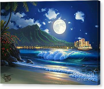 Waikiki Surf Aglow Canvas Print