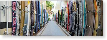 Waikiki Surfboard Storage Canvas Print