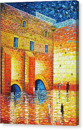 Wailing Wall Original Palette Knife Painting Canvas Print by Georgeta Blanaru