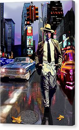 Waine Walking In Times Square Canvas Print by Jose Roldan Rendon