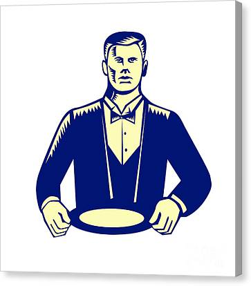 Waiter Cravat Serving Plate Woodcut Canvas Print by Aloysius Patrimonio