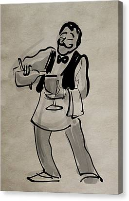 Waiter Pouring Wine Canvas Print