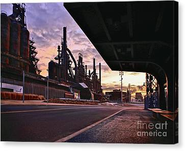 Canvas Print featuring the photograph Waitin' On The Bus by DJ Florek
