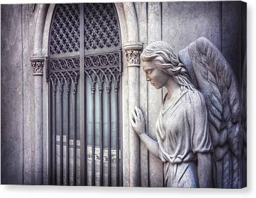 Waiting Angel In Prazeres Lisbon Canvas Print by Carol Japp