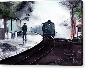 Canvas Print featuring the painting Waiting by Anil Nene