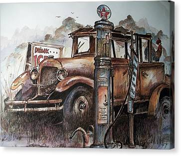 Waiting At The Pump Canvas Print by Dick  Stanton