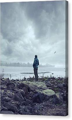 Waiting By The Shore Canvas Print by Art of Invi