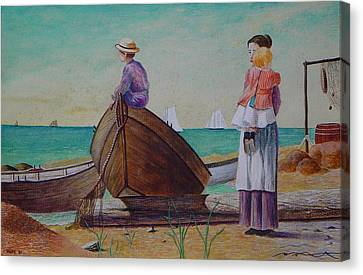 Waiting For Dad Winslow Homer Canvas Print by Ron Sylvia