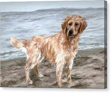 Canvas Print featuring the painting Waiting For Fetch by Meagan  Visser