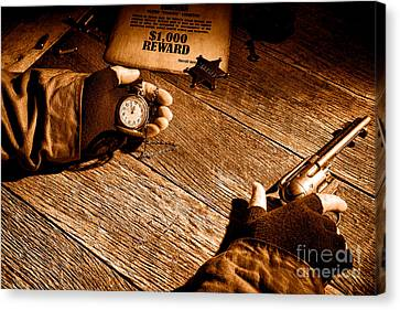 Waiting For High Noon - Sepia Canvas Print by Olivier Le Queinec