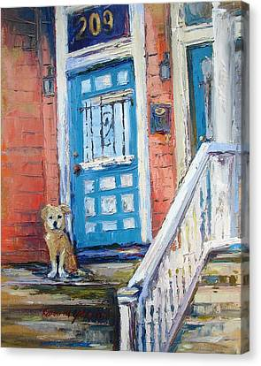 Dog At Door Canvas Print - Waiting For His Master by Karen Mayer Johnston