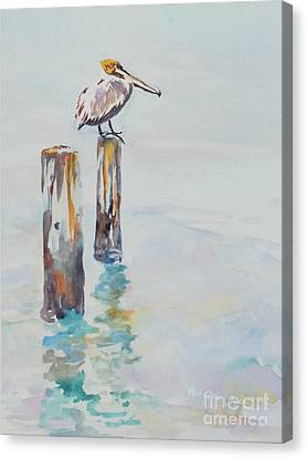 Canvas Print featuring the painting Waiting For Lunch by Mary Haley-Rocks