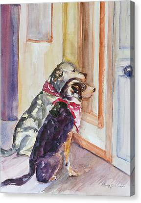 Dog At Door Canvas Print - Waiting For Mary by Nancy Brennand