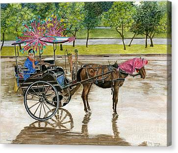 Canvas Print featuring the painting Waiting For Rider Jakarta Indonesia by Melly Terpening