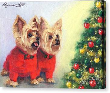Waiting For Santa Dog Canvas Print by Roseanne Marie Peters