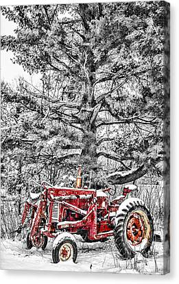 Antique Tractors Canvas Print - Waiting For Spring by Paul Freidlund