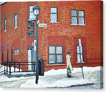 Montreal Winter Scenes Canvas Print - Waiting For The 107 Bus by Reb Frost