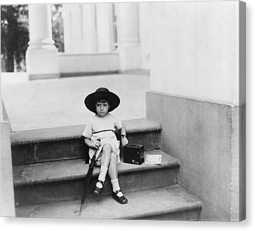 1920s Candid Canvas Print - Waiting For The President, A Young Girl by Everett