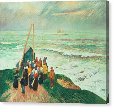 Storm Canvas Print - Waiting For The Return Of The Fishermen In Brittany by Henry Moret