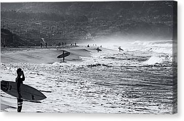 Canvas Print featuring the photograph Waiting For The Surf By Mike-hope by Michael Hope