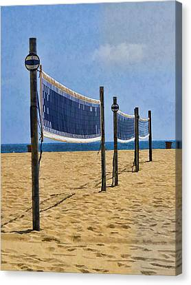 Lonely Volley Ball Nets Canvas Print by Helaine Cummins