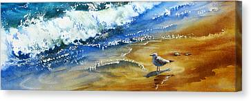 Waiting-for-the-wave Canvas Print by Nancy Newman