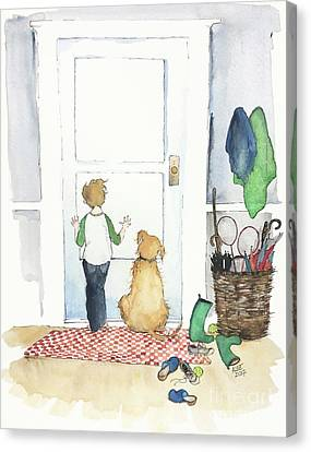 Dog At Door Canvas Print - Waiting For You by Anne Lee