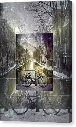 Waiting In The Snow Canvas Print by Debra and Dave Vanderlaan