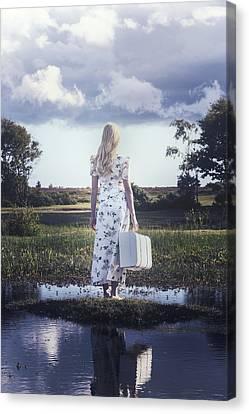 Vintage River Scenes Canvas Print - Waiting On An Island by Joana Kruse