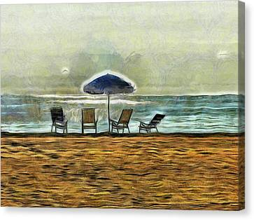 Beach Chair Canvas Print - Waiting On High Tide by Trish Tritz
