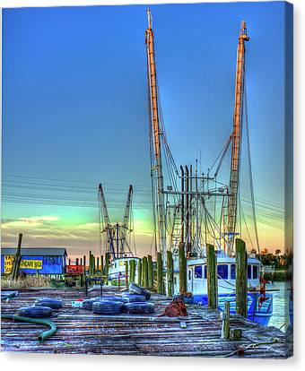 Canvas Print featuring the photograph Waiting Shrimp Boats Wilmington River Tybee Island Georgia Art by Reid Callaway