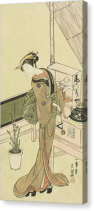 Waitress At The Owariya Teahouse Canvas Print by Ippitsusai Buncho