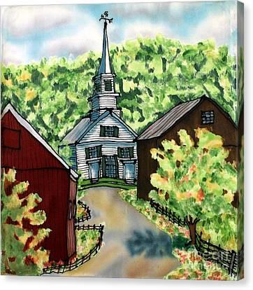 Waits River Church Canvas Print by Linda Marcille