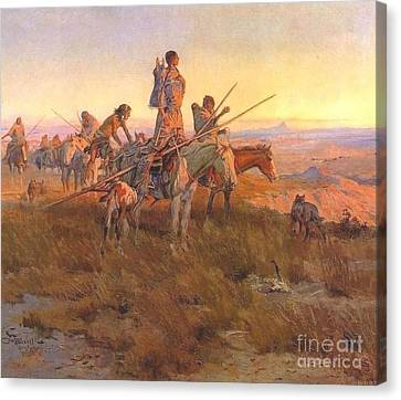 Wake Of The Buffalo Runners Canvas Print by Pg Reproductions
