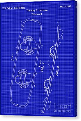 Wakeboard Patent Blueprint Drawing Canvas Print