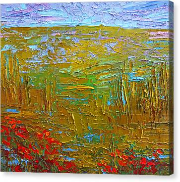 Waking Up At Dawn Poppy Field Modern Impressionist Landscape Palette Knife Oil Painting Canvas Print