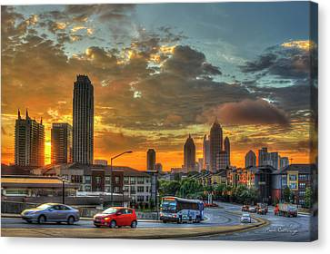 Waking Up Midtown Atlanta Towers Over Atlantic Commons Art Canvas Print